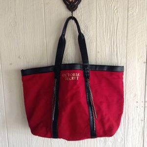 Red and Black Victoria's Secret Tote Bag